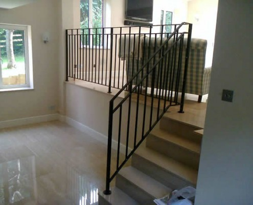 Steel handrail balustrade to stairs and landing galvanised and powder coated