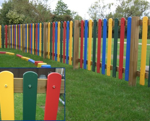 Coloured plastic palisade children's fencing