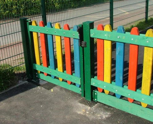 Playtime coloured timber fencing and gate