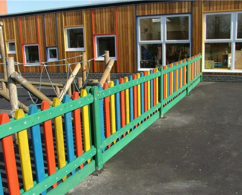 Coloured timber playtime fencing