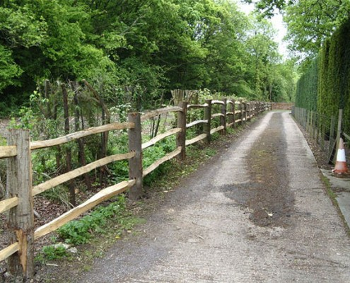 3 rail chestnut post and rail fencing
