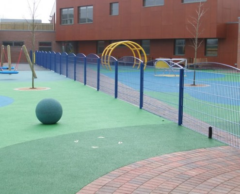 Arch top twin 868 wire mesh fence around childrens play area