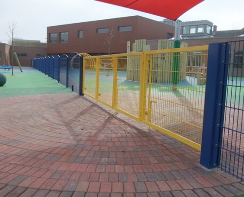 School play area with Bi-folding metal gates with twin wire fencing