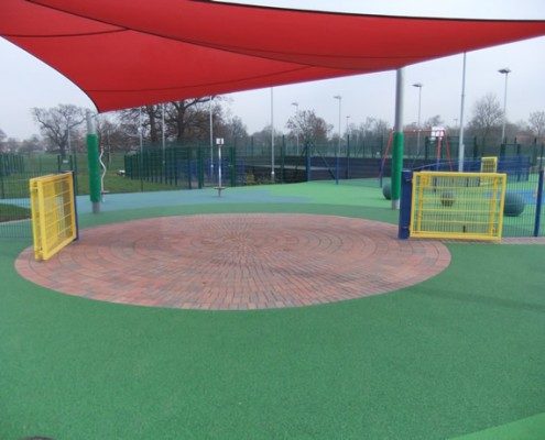 School play area fenced with twin wire security mesh and access gates
