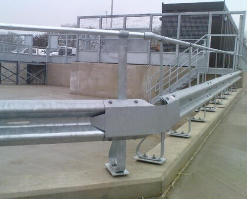 Sprung vehicle barrier with handrail