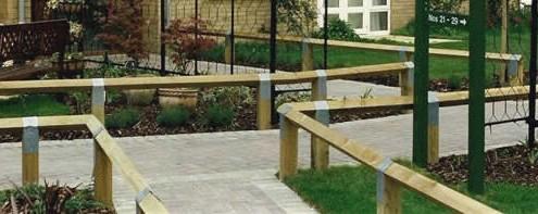 Knee rail fencing as path edging