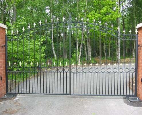 automated ornate metal entrance gates