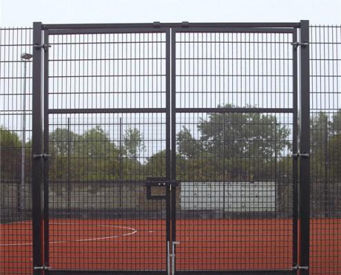 Twin wire sports fence gates