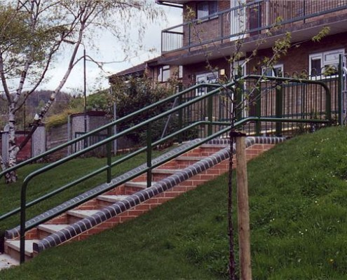 steel steps handrail and barrier