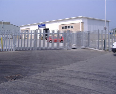 Galvanised steel palisade fencing and gates